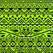 Geometric aztec black and green seamless pattern, vector
