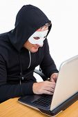 Burglar with white mask hacking a laptop on white background
