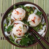 Traditional Rice Noodle Soup With Fish Balls Top View