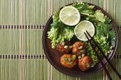 Traditional Asian Fish Balls With Salad Closeup. Top View Horizontal
