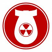 image of bombshell  - Bomb button on white background - JPG