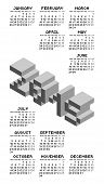 Black And White Square Pixel Style Year 2015 Calendar