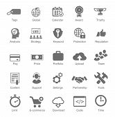 Set  silhouetted black and white SEO  internet icons for optimising a website