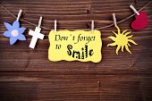 Yellow Label With Life Quote Dont Forget To Smile