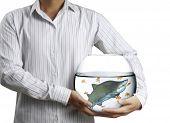 shark in aquarium a hand