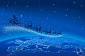 Illustration of Santa Claus and reindeer flying through starry blue sky over Europe; Christmas scene.