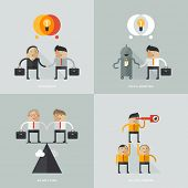 Set of flat design vector illustration concepts for business, web, mobile marketing, partnership
