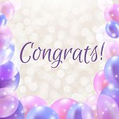 Congrats Card With Balloons With Gradient Mesh, Vector Illustration