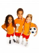 Soccer winner team of boy and girls isolated