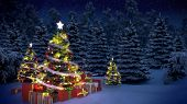 christmas trees and gift boxes