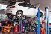 stock photo of car repair shop  - The Car workshop for repairs and setups - JPG