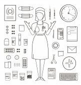 Outlined One Color Medical Symbols and Icons Collection with Nurse Standing