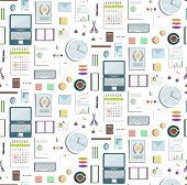 Seamless Pattern Office Supplies Flat Colored Business Wallpaper