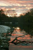 River Sunset At Van Cortlandt Park In The Bronx