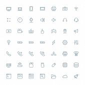 Thin line technology icons set for web and mobile apps. Gray icons on white background. Computer, sm