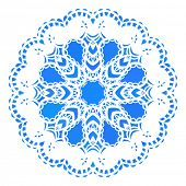 Blue round pattern, Circular ornament design element, Vector isolated on white