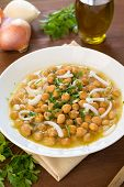 stock photo of chickpea  - dish of soup with chickpeas - JPG