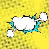 Pop-art Expression Comics Book Steam Cloud