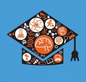 Set of vector icons for education concept in the form of an academic cap. 