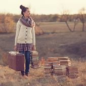 Hipster Girl Holding A Suitcase