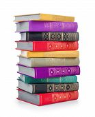 Stack Of Colorful Vintage Book On An Isolated White