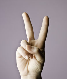 image of middle finger  - Man hand indicating peace victory sign - JPG