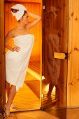 image of sauna woman  - Spa beauty treatment and lifestyle relaxation concept - JPG