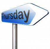 picture of thursday  - thursday next day calendar concept for appointment program or event   - JPG