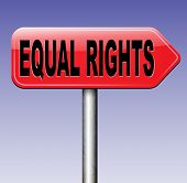 foto of disability  - equal rights no discrimination and same opportunities for all women man disabled black and white solidarity discrimination of people with disability or physical and mental handicap road sign arrow  - JPG