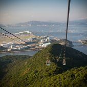 foto of lantau island  - Cable Car way to mountains above the river - JPG