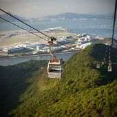 picture of lantau island  - Cable Car way to mountains above the river  - JPG