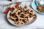 pic of edible mushroom  - Dried mushrooms in plate on wooden background - JPG