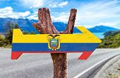 image of guayaquil  - Ecuador Flag wooden sign with road background - JPG