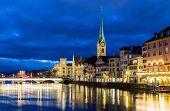 pic of zurich  - Zurich at night in Switzerland - JPG