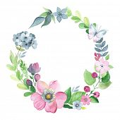 picture of flying-insect  - Wreath of watercolor floral elements with butterfly - JPG
