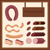 foto of charcuterie  - set of different sausage icons with charcuterie sign and wooden border - JPG