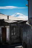 picture of armenia  - Photo of house of the poor in Yerevan Armenia on background Ararat - JPG