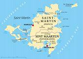 stock photo of political map  - Saint Martin Island Political Map - JPG