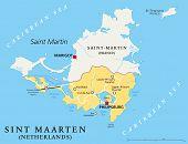 Постер, плакат: Sint Maarten Political Map