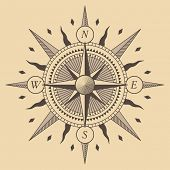 picture of compass rose  - Oldstyle wind rose compass - JPG