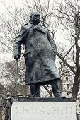 picture of prime-minister  - Statue of Winston Churchill Parliament square London - JPG