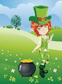 picture of leprechaun  - Cartoon leprechaun boy with treasure pot on a grass field - JPG