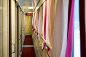 stock photo of railroad car  - The image of corridor in the compartment car