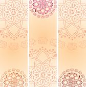 stock photo of indian elephant  - Set of 3 colorful traditional Indian henna elephant mandala design vertical banners with space for text - JPG