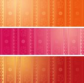 picture of indian culture  - Set of 3 colorful traditional Indian henna elephant pattern design horizontal banners with space for text - JPG