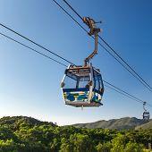 stock photo of lantau island  - Cable Car way to mountains. Hong Kong ** Note: Visible grain at 100%, best at smaller sizes - JPG