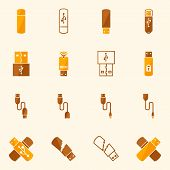 stock photo of flashing  - USB icons flat yellow set  - JPG