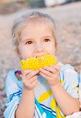 picture of boil  - Toddler cute girl eating boiled corn on the sea - JPG