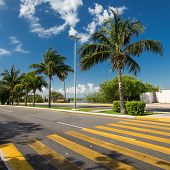 stock photo of pedestrian crossing  - Pedestrian crossing on tropical street road. Outdoors