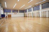 stock photo of indoor games  - elementary school gym indoor with volleyball net - JPG